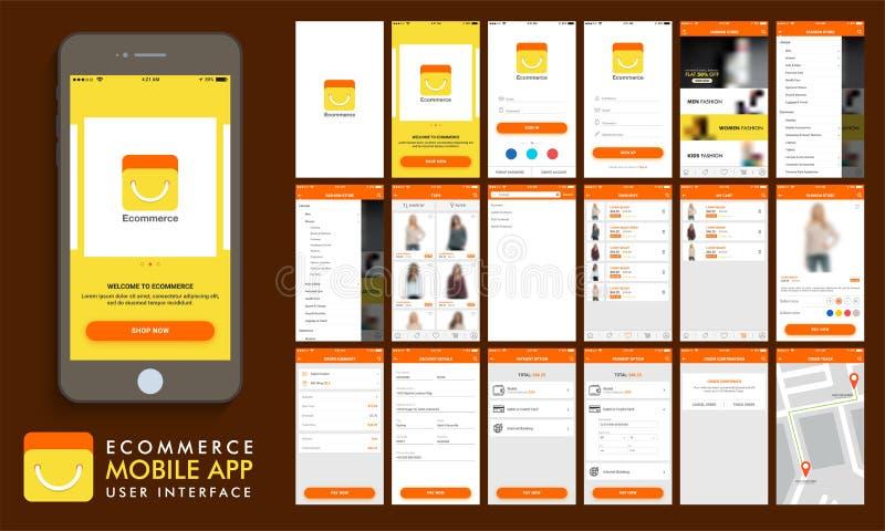 电子商务,网上购物的UI、UX和GUI模板布局 向量例证