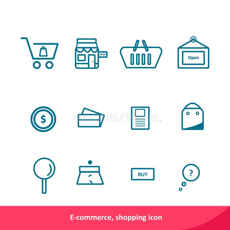 电子商务,购物的概述象集合 也corel凹道例证向量 皇族释放例证