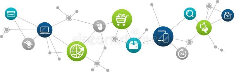 电子商务/电子商务/网上企业概念–传染媒介例证 库存例证