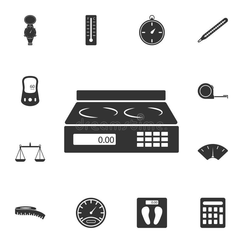 电子天平象 简单的元素例证 电子天平从测量的汇集集合的标志设计 能使用 库存例证