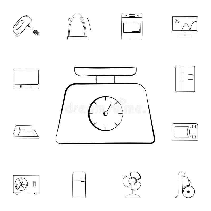 电子天平象 详细的套家电 优质图形设计 其中一个网站的汇集象,网de 皇族释放例证
