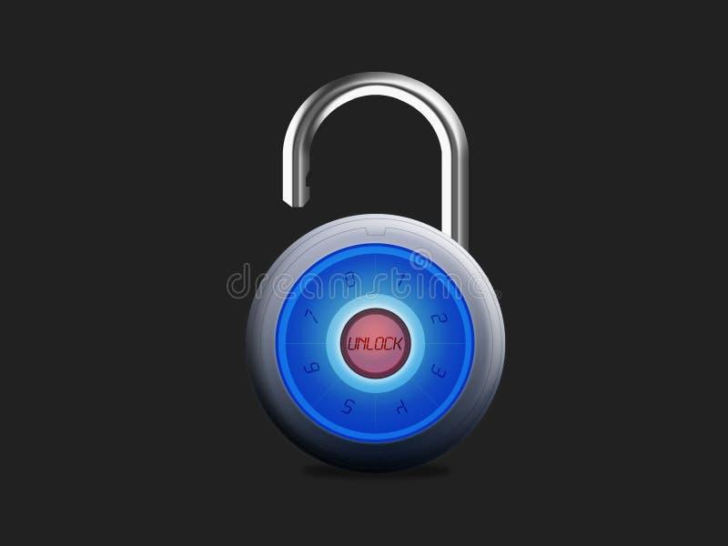电子挂锁安全开锁 库存照片