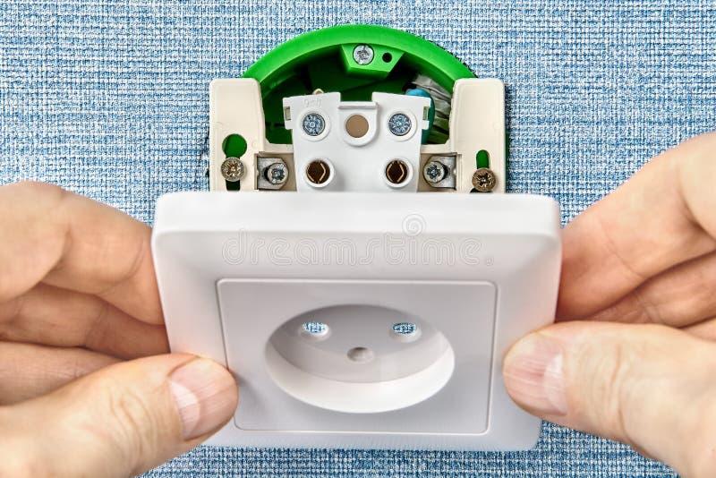电子接触点的设施在家 库存图片