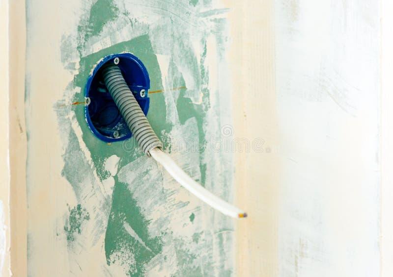 电子插口和明线电缆 免版税库存照片
