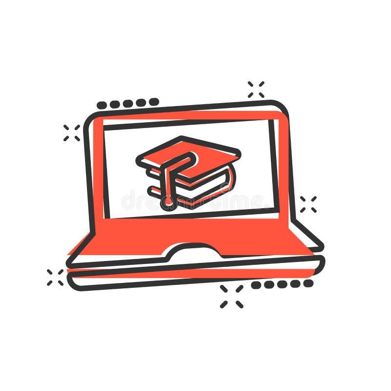电子教学在可笑的样式的教育象 研究传染媒介动画片例证图表 手提电脑网上训练事务 向量例证