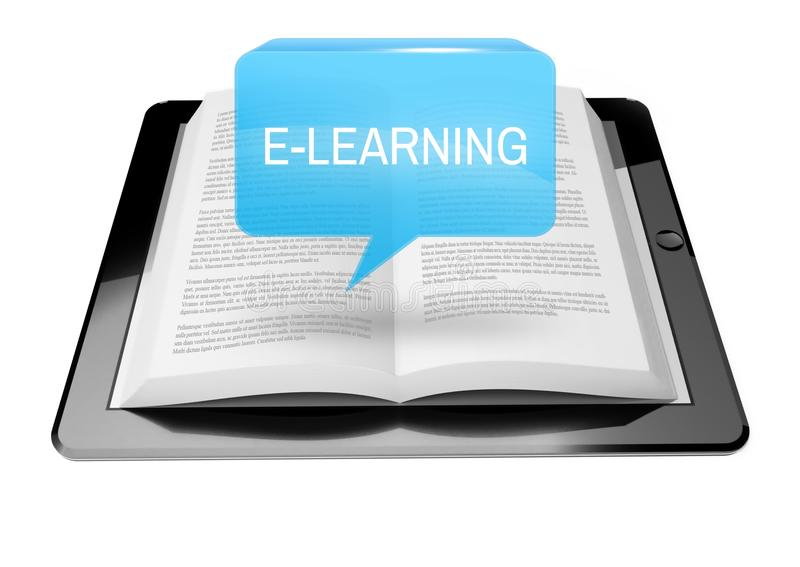 电子教学在ebook读者片剂上的象按钮 向量例证