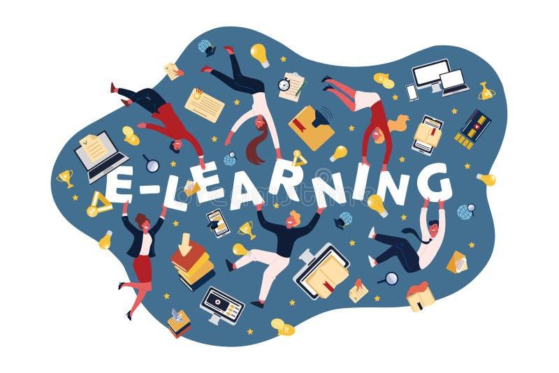 电子教学机会,在网上学习的人们,接受文凭,与电脑技术横幅的自修 库存例证