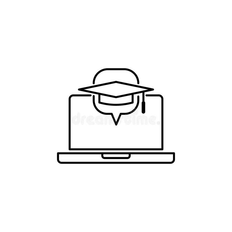 电子教学线象 网上互联网教育标志 在膝上型计算机屏幕上的毕业盖帽 数字式毕业生企业标志 商标为 库存例证