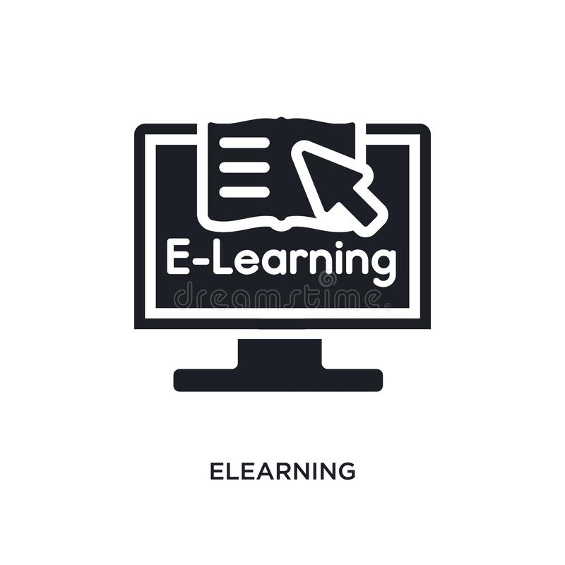 电子教学被隔绝的象 从电子教学概念象的简单的元素例证 电子教学编辑可能的商标标志标志设计  皇族释放例证
