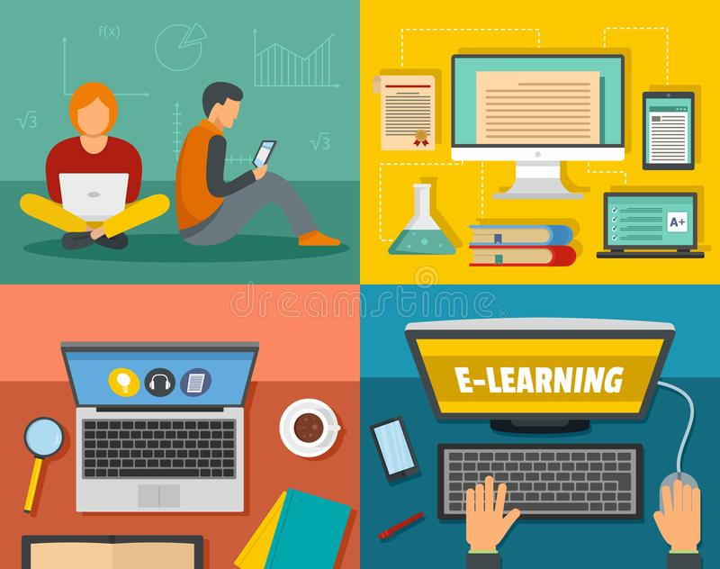 电子教学训练横幅概念集合,平的样式 向量例证