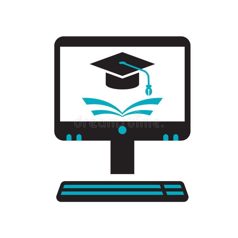 电子教学象在白色背景和标志隔绝的传染媒介标志,电子教学商标概念 皇族释放例证