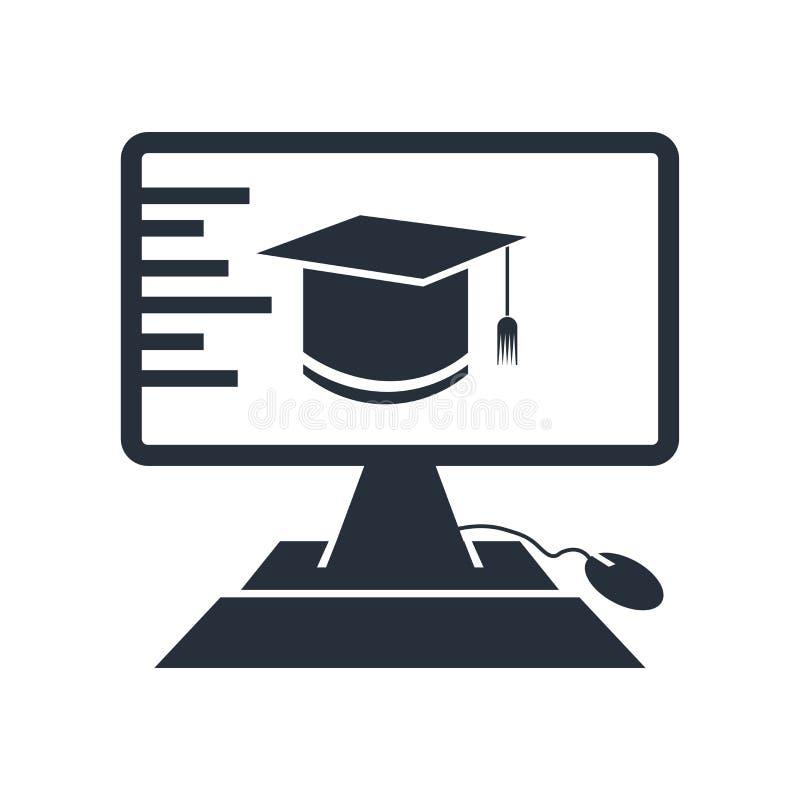 电子教学象在白色背景和标志隔绝的传染媒介标志,电子教学商标概念 库存例证