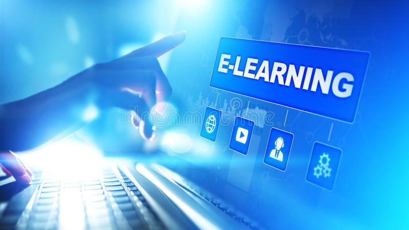 电子教学,网上教育,互联网学习 事务、技术和个人发展概念在虚屏上 皇族释放例证