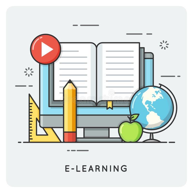 电子教学,网上教育 平的线艺术样式概念 向量例证