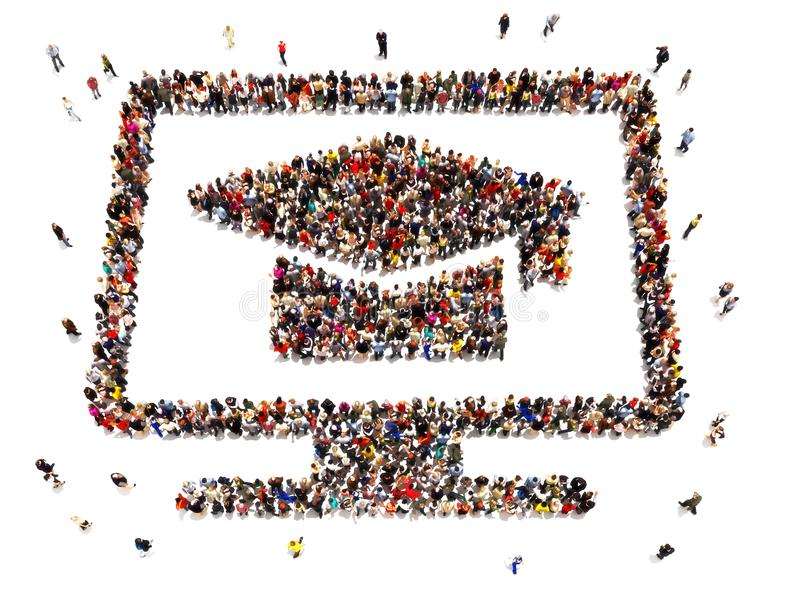 电子教学 形成计算机的标志大人 在被隔绝的白色背景的网上教育概念 库存例证