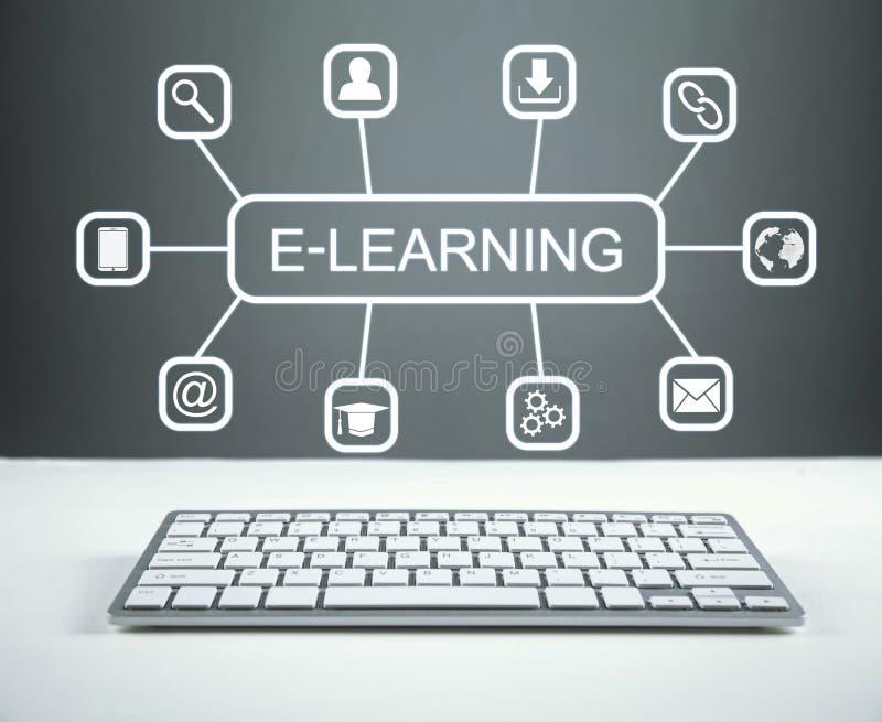 电子教学 概念教育互联网关键董事会了解字 免版税库存照片