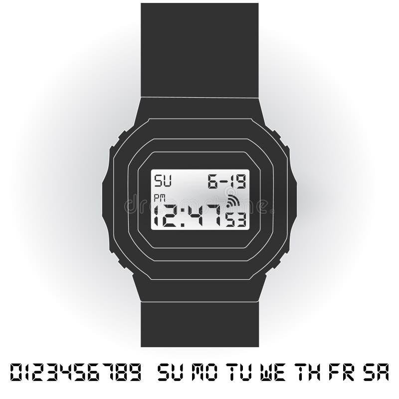 电子数字式手表 向量例证