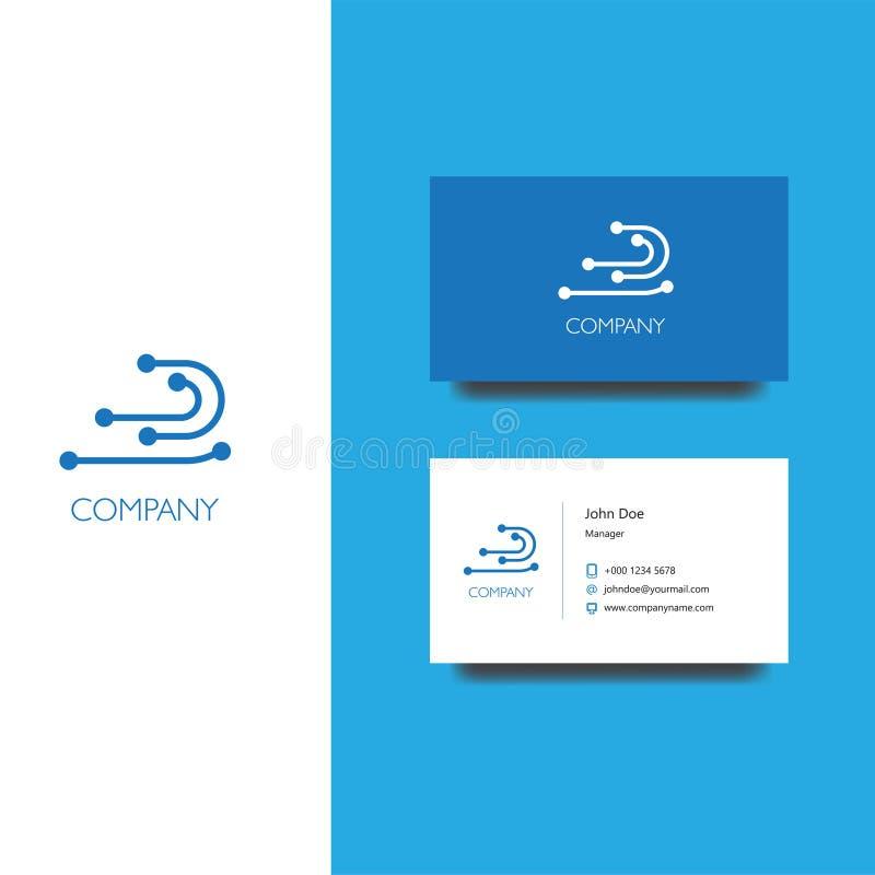 电子服务或物品公司商标和名片模板 库存例证