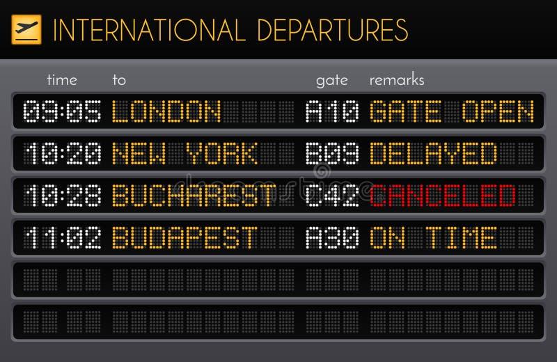 电子机场板现实构成 库存例证