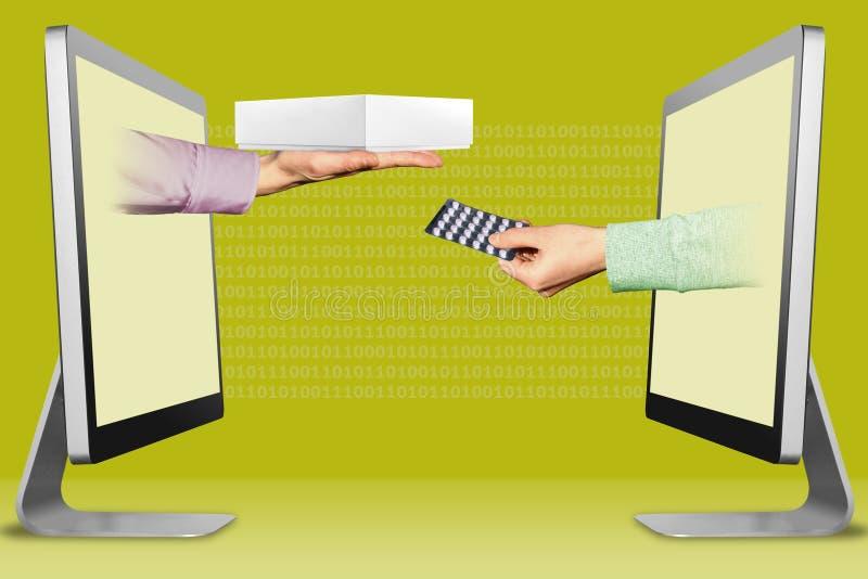 电子概念,从显示的两只手 有白色片剂计算机箱子的有医学药片的手和手 3d?? 皇族释放例证