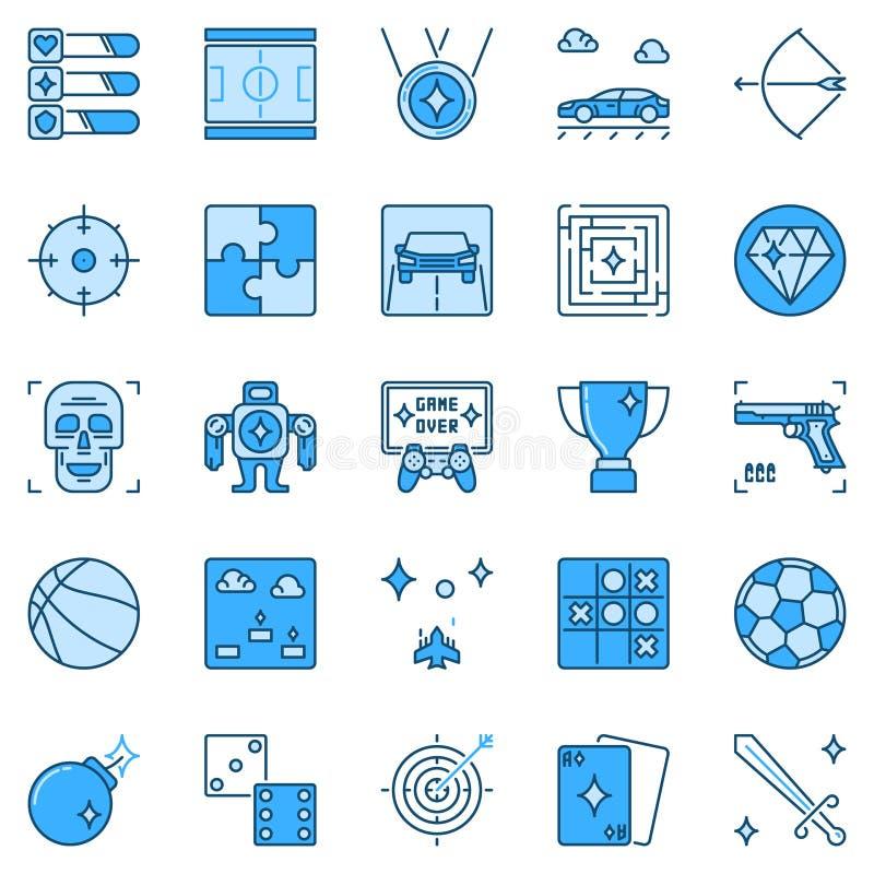 电子游戏和赌博蓝色象 比赛创造性的标志 库存例证