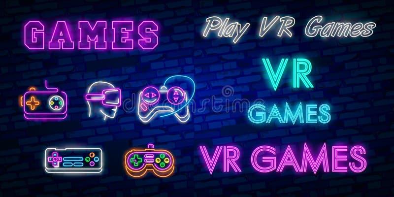电子游戏商标汇集霓虹灯广告传染媒介设计模板 概念性Vr比赛,在霓虹样式, gamepad的减速火箭的比赛夜商标我 皇族释放例证