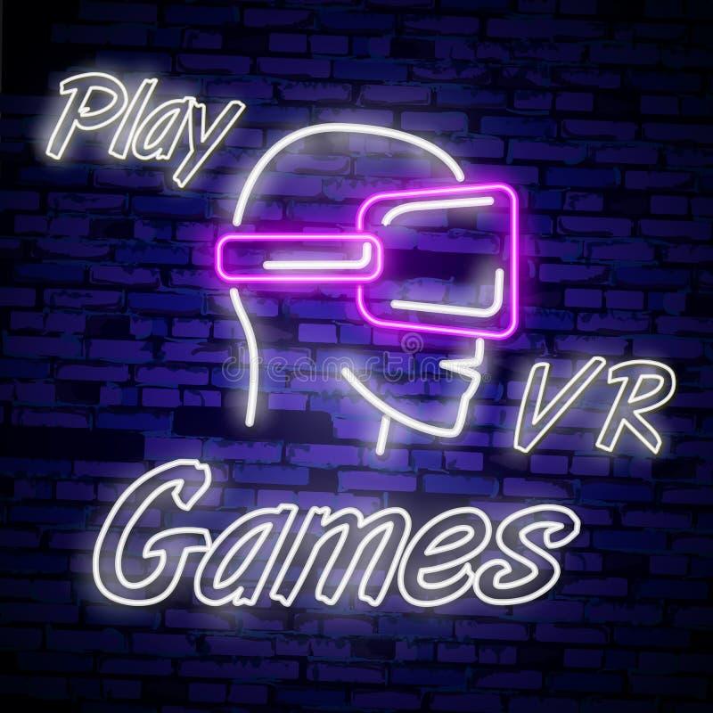 电子游戏商标汇集霓虹灯广告传染媒介设计模板 概念性Vr比赛,在霓虹样式, gamepad的减速火箭的比赛夜商标我 库存例证