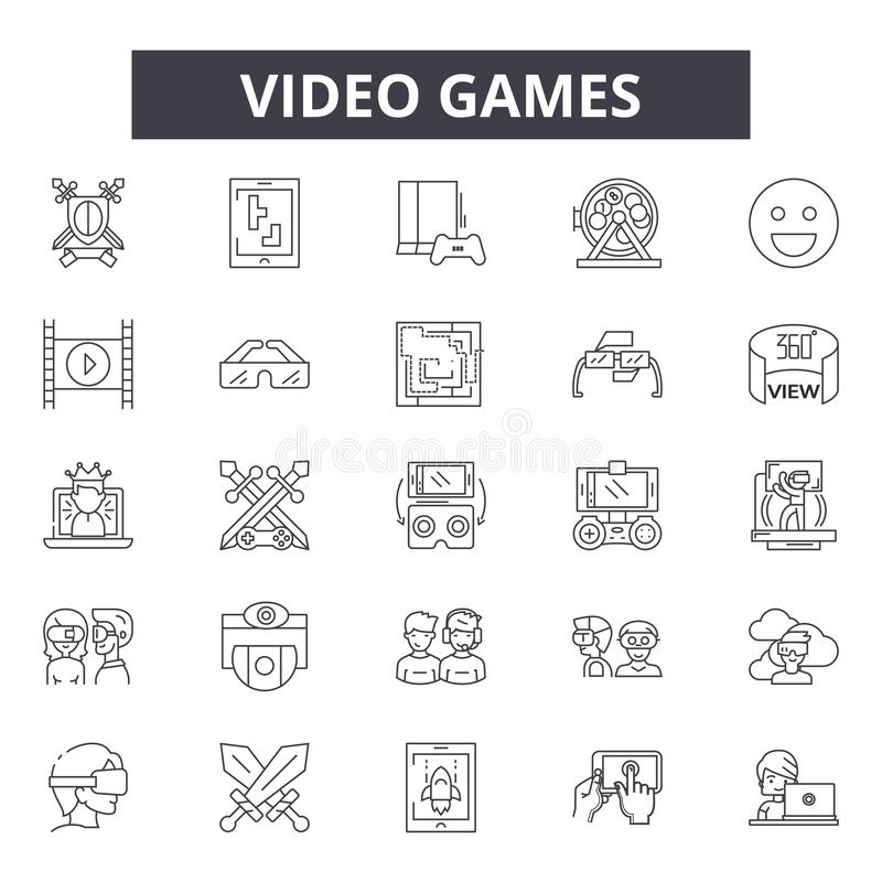 电子游戏排行象,标志,传染媒介集合,概述例证概念 向量例证