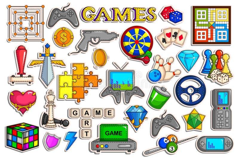 电子游戏接口对象的贴纸汇集 库存例证