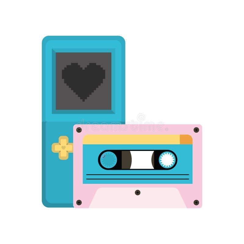 电子游戏控制台把柄和卡式磁带ninetys 向量例证