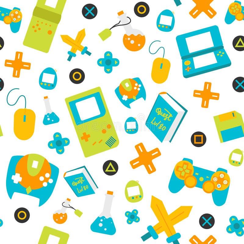 电子游戏控制器gamepads无缝的样式平的样式 免版税库存照片