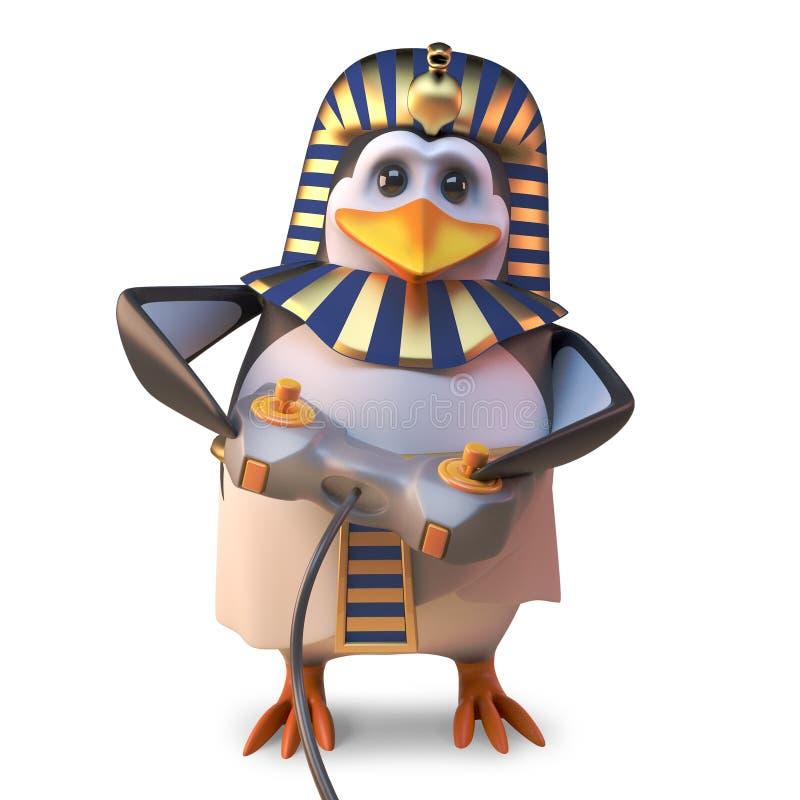 电子游戏狂热埃及法老王企鹅使用与他的控制杆控制器的,3d例证 向量例证