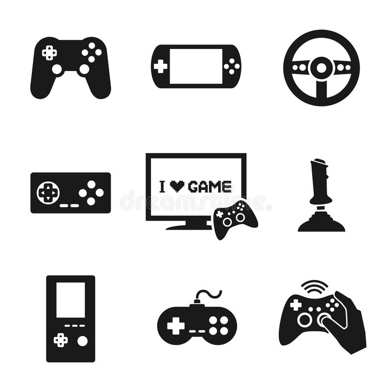 电子游戏被设置的控制器象 库存例证