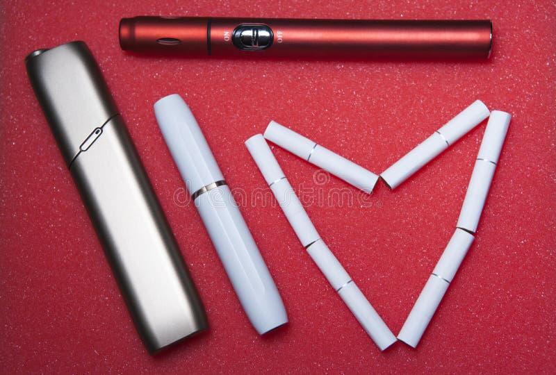 电子烟设备心脏标志没人 库存照片