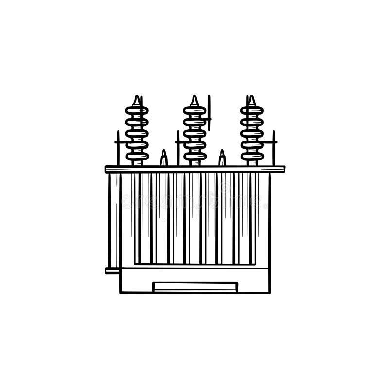 电子电压变压器手拉的概述乱画象 向量例证