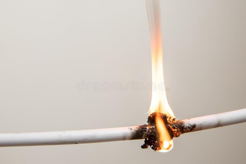 电子短路,被烧的缆绳,在白色背景 图库摄影