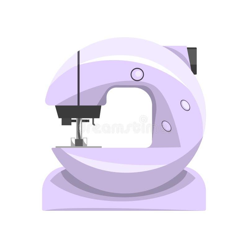 电子缝纫机,裁缝在白色背景的传染媒介例证的现代设备 皇族释放例证