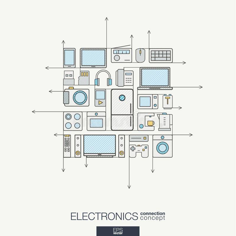电子联合稀薄的线标志 现代颜色传染媒介概念 库存例证