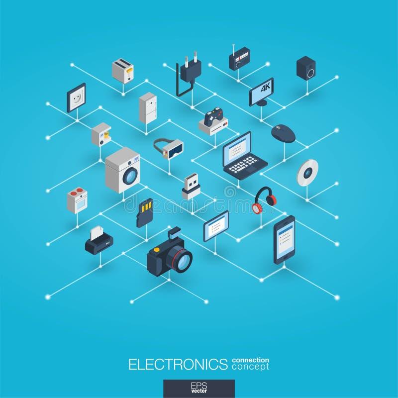 电子联合3d网象 数字网等量概念 库存例证