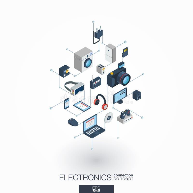 电子联合3d网象 数字网等量概念 向量例证