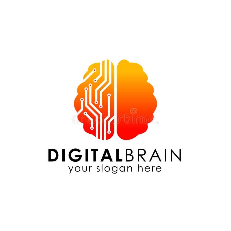 电子脑子商标 数字式脑子商标设计模板 聪明的脑子传染媒介象 向量例证