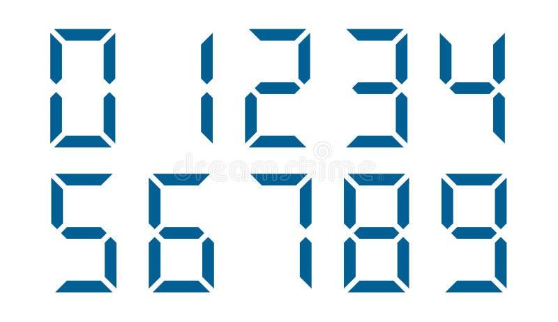 电子蓝色数字的传染媒介图象在白色背景的 图库摄影