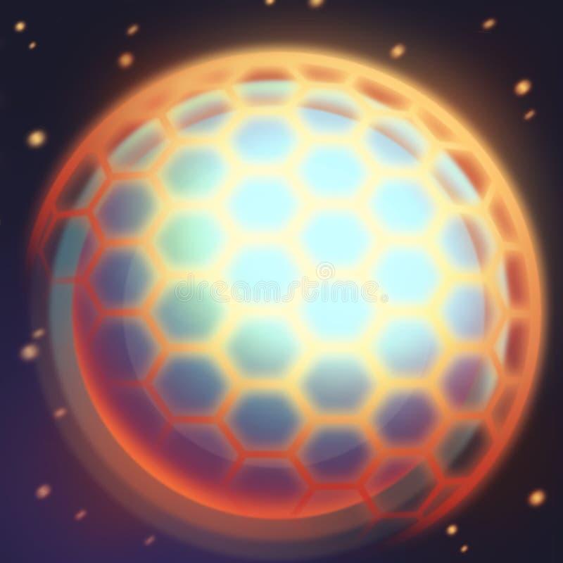 电子行星和球形与盾 比赛象和技能象 皇族释放例证
