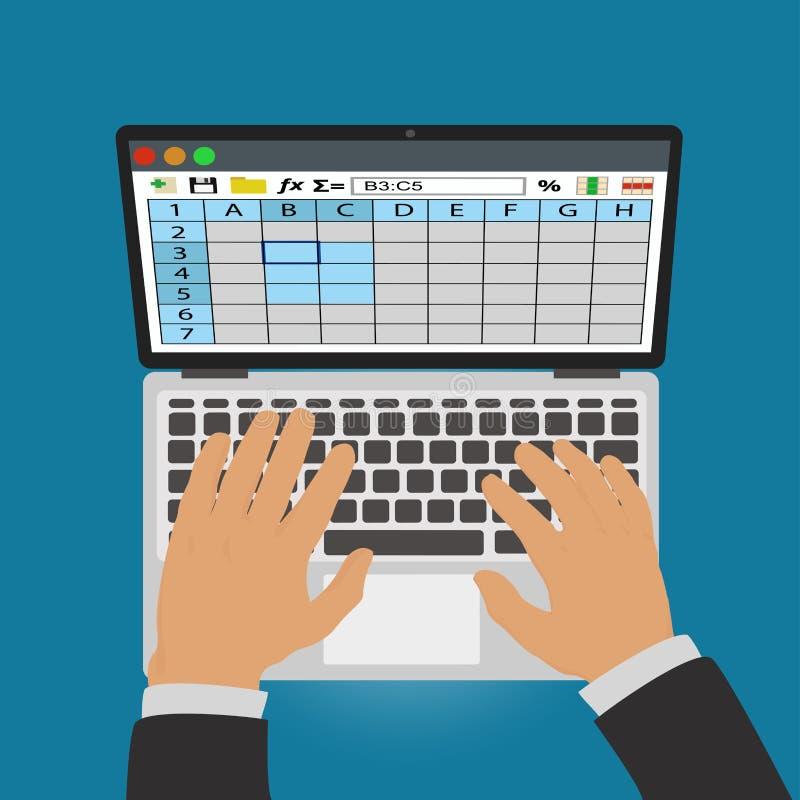 电子表格 膝上型计算机工作 皇族释放例证