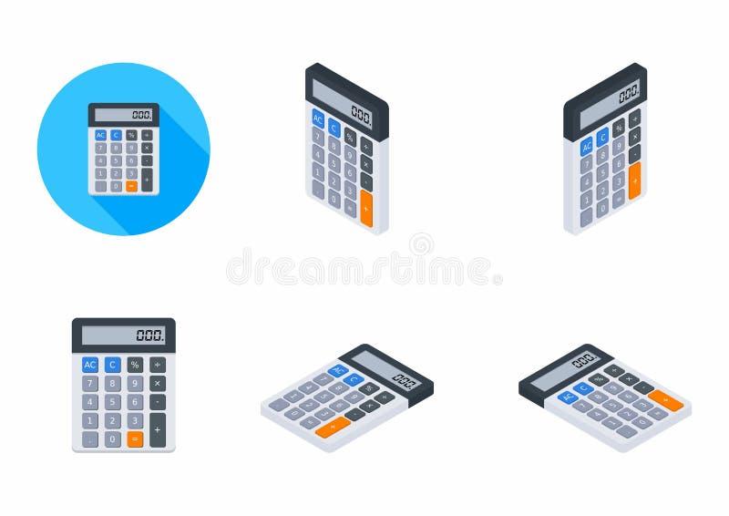 电子计算器,概念计算帐户财务,办公设备,传染媒介,平的象,象组装,象集合 库存例证