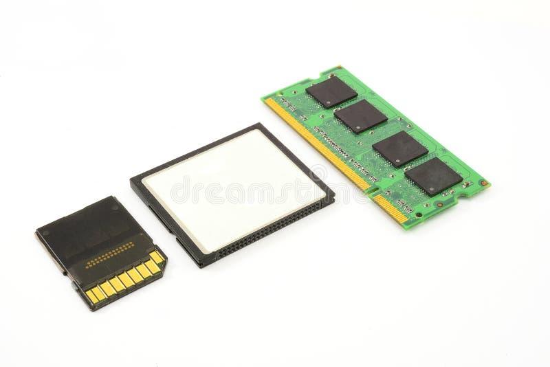 电子计算机存贮器模块的芯片 免版税库存图片