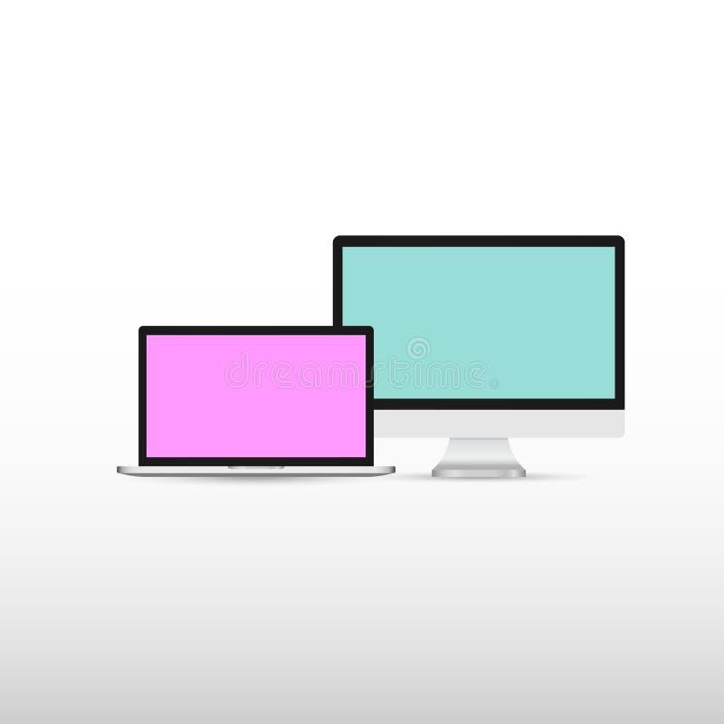 电子设备大模型集合膝上型计算机显示器片剂和智能手机有五颜六色的屏幕数字技术概念灰色背景 库存例证