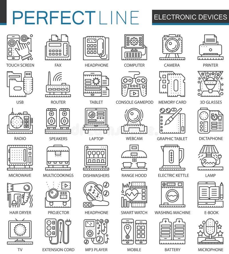 电子设备概述微型概念标志 被设置的家庭小配件现代冲程线性样式例证 理想 皇族释放例证