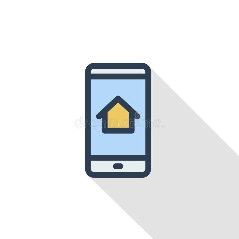 电子设备的聪明的家庭流动控制象组织变薄线平的颜色象 线性传染媒介标志 库存例证
