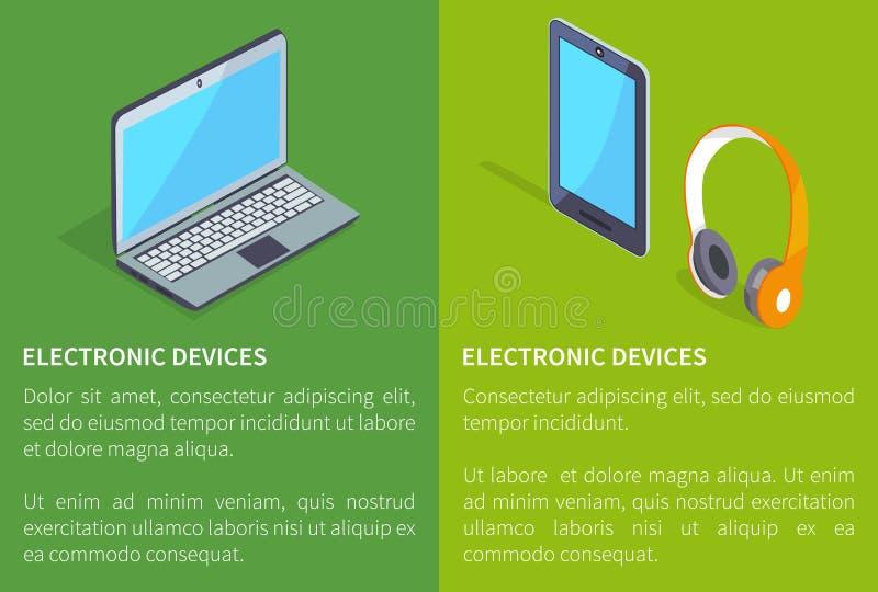 电子设备膝上型计算机和耳机片剂 皇族释放例证